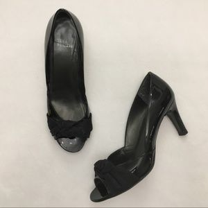 Stuart Weitzman Black Patent Knot-Peep Toe Heels